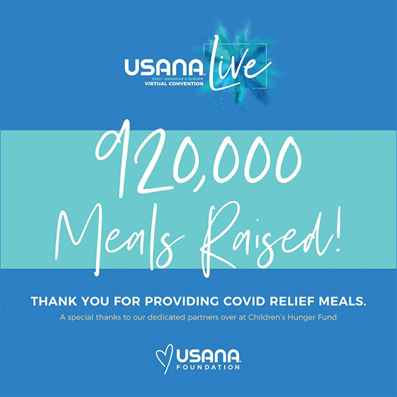 The 2020 USANA Americas & Europe Virtual Convention set out to provide 100,000 meals to hungry children and families. Thanks to you, we easily surpassed that goal. Thanks to your generosity, The USANA Foundation provided 920,000 meals globally. I can't thank you enough for all you do to support The USANA Foundation. Please take a moment to read more about this amazing accomplishment.